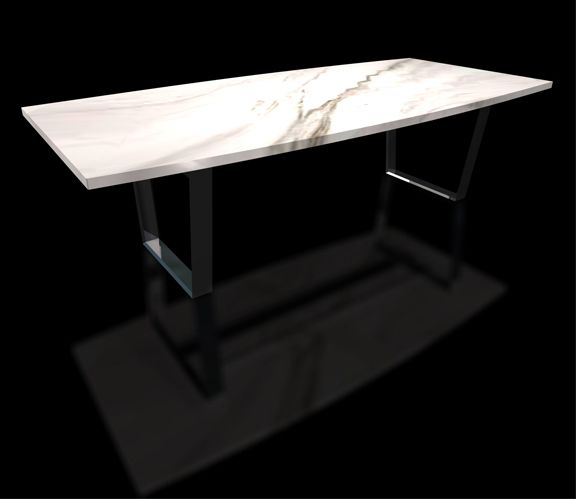 Most Current Long Dining Tables With Polished Black Stainless Steel Base Throughout Marble, Granite Dining Table (#14 of 20)