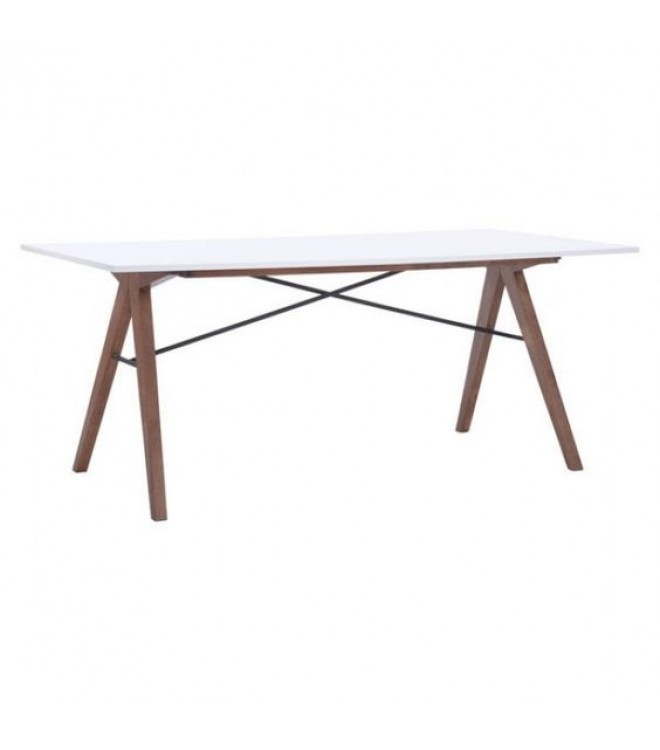 Most Current Mid Century Modern Walnut Dining Table White Top Throughout Mid Century Rectangular Top Dining Tables With Wood Legs (View 4 of 20)