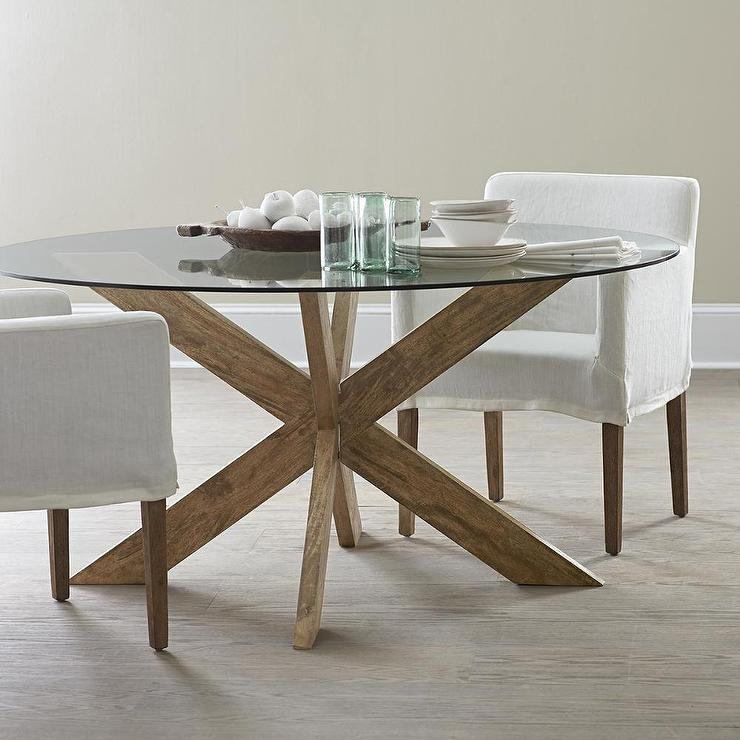 Most Current Modern Round Glass Top Dining Tables Throughout Modern X Base Dining Table In Brown (#10 of 20)