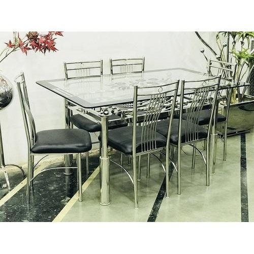 Most Current Steel And Glass Rectangle Dining Tables Regarding Stainless Steel Glass Top Dining Table Set (View 8 of 20)