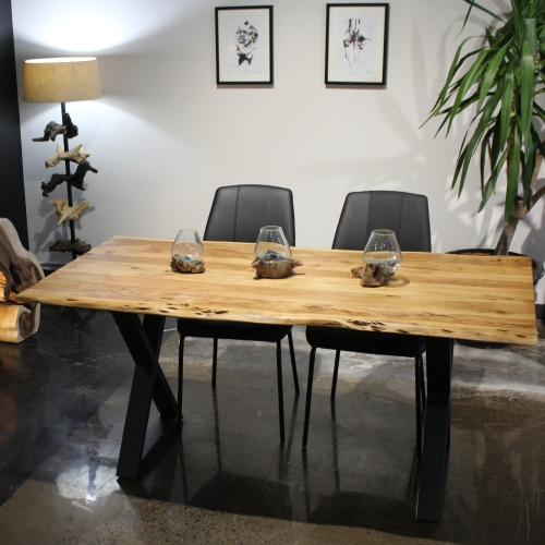 Most Popular Acacia Live Edge 67'' Dining Table With Black X Legs For Acacia Dining Tables With Black X Leg (View 7 of 20)