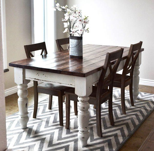 Most Popular Ana White Used Various #minwax Stain And Finish Products In Distressed Walnut And Black Finish Wood Modern Country Dining Tables (View 2 of 20)