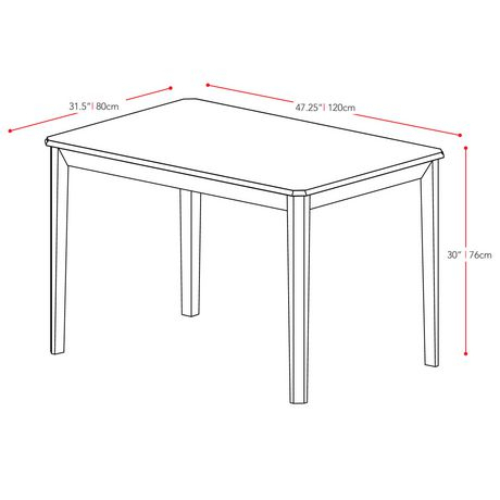 "Most Popular Atwood Transitional Rectangular Dining Tables Within Corliving Atwood 47"" X 32"" Cappuccino Stained Dining Table (#19 of 20)"