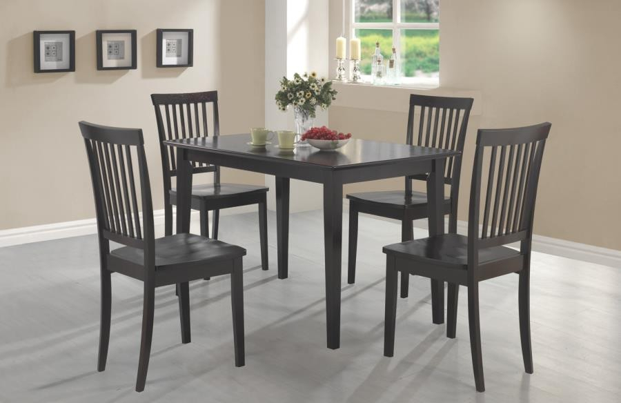 Most Popular Cappuccino Finish Wood Classic Casual Dining Tables Throughout Dining: Packaged Sets Wood – Oakdale Casual Cappuccino Five Piece Dinette Set (View 6 of 20)