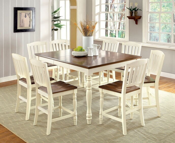 Most Popular Cm3216Pt 7Pc 7 Pc Hokku Designs Laureaus Harrisburg Country Style Two Tone  Vintage White Dark Oak Finish Wood Counter Height Dining Table Set For Walnut And Antique White Finish Contemporary Country Dining Tables (#8 of 20)