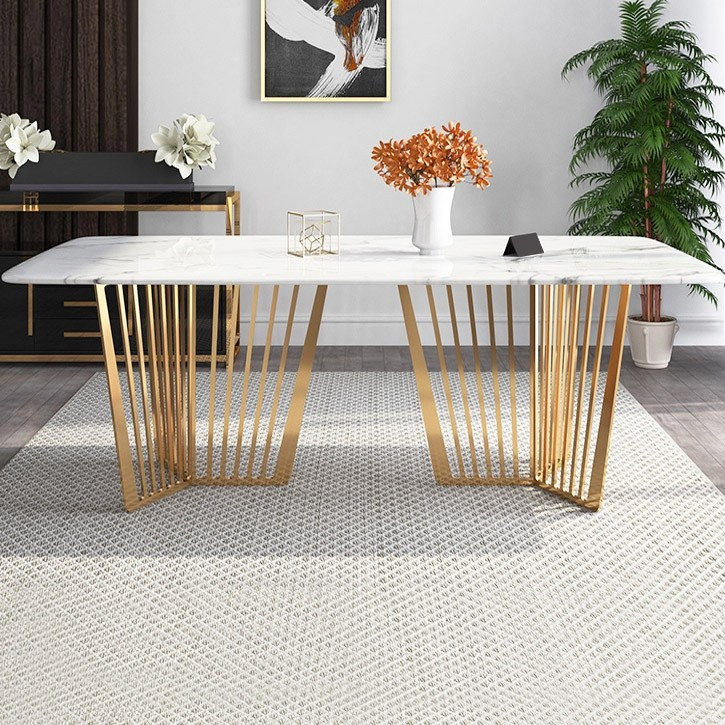 """Most Popular Contemporary 63"""" Rectangular Faux Marble Dining Table Gold Base Stainless  Steel With Dining Tables With Brushed Gold Stainless Finish (#13 of 20)"""