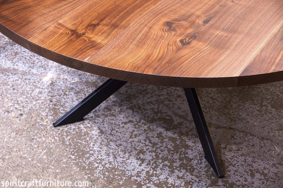Most Popular Dining Tables With Stained Ash Walnut In A Custom Round Walnut Dining Table W/ Welded Steel Spider Leg Base – Solid Kiln Dried Hardwood – Handcrafted Heirloom Quality Furniture (View 15 of 20)