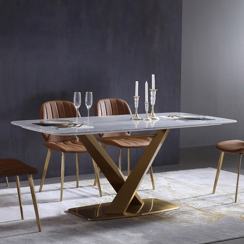 """Most Popular Dining Tables With White Marble Top For 71"""" Rectangular Faux Marble Dining Table Gold X Base Stainless Steel With  White Marble Top (#12 of 20)"""