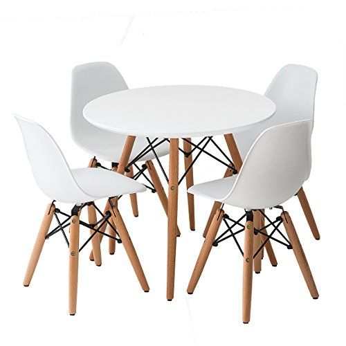 Most Popular Eames Style Dining Tables With Wooden Legs Throughout Buschman Set Of White Eames Style Kids Dining Room Mid (#15 of 20)