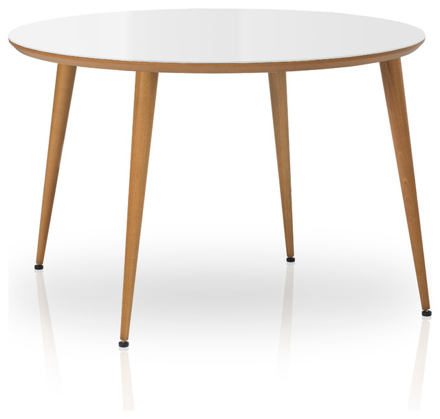 Most Popular Essai Round Glass Top Dining Table, White Throughout Round Glass Top Dining Tables (View 19 of 20)
