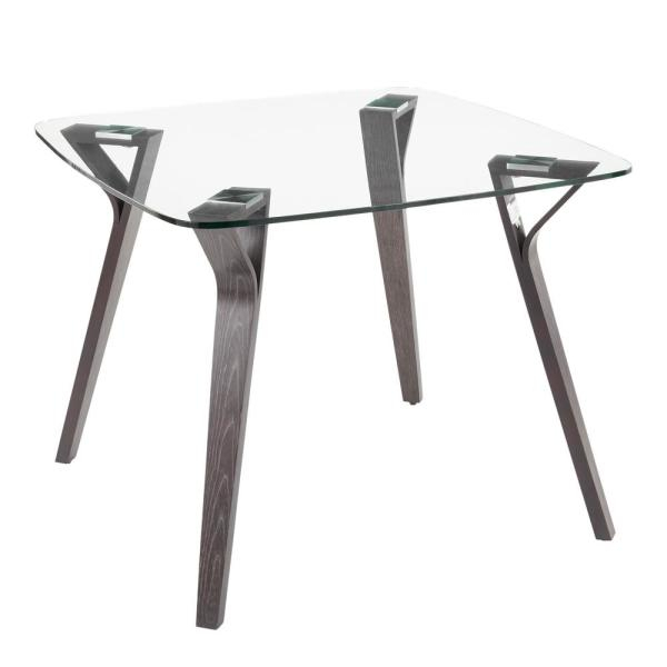 Most Popular Frosted Glass Modern Dining Tables With Grey Finish Metal Tapered Legs In Lumisource Folia Mid Century Dark Grey Wood And Clear Glass (#14 of 20)