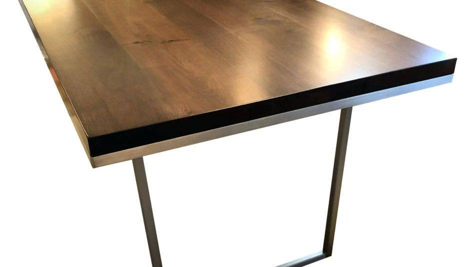 Most Popular Glass Dining Table Stainless Steel Legs Agreeable Rooms Throughout Mid Century Rectangular Top Dining Tables With Wood Legs (View 19 of 20)