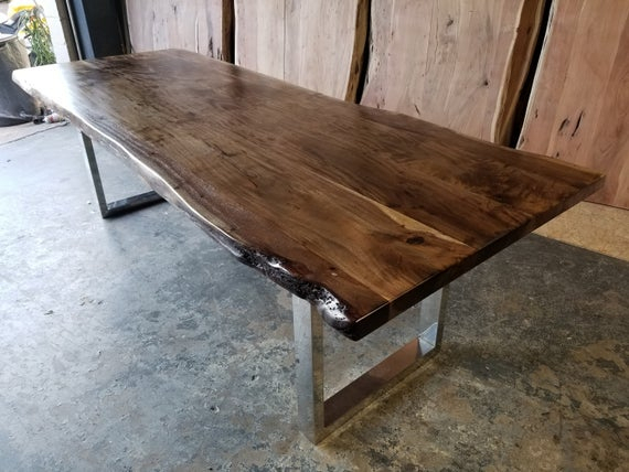 "Most Popular Unique Acacia Wood Dining Tables For 96""l Handcrafted, Cool Toned Live Edge Acacia Wood Dining/conference Table (View 13 of 20)"
