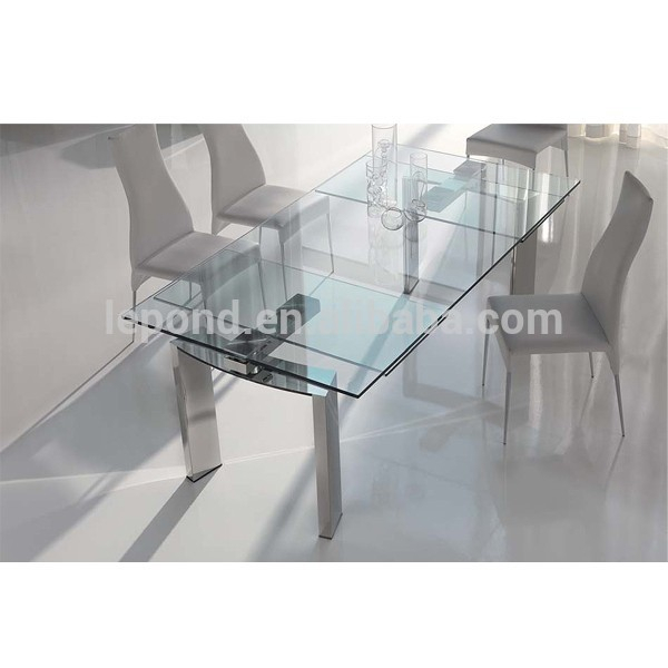Most Recent China Glass Dining Table Wholesale 🇨🇳 – Alibaba With Regard To Modern Glass Top Extension Dining Tables In Stainless (#16 of 20)