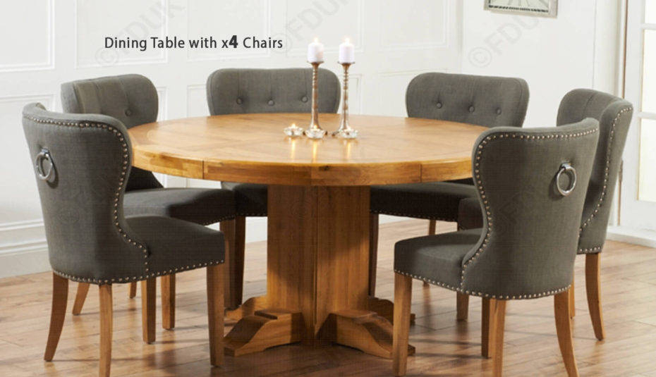Most Recent Delightful Small Solid Oak Dining Table And Chairs Stunning Throughout Solid Wood Circular Dining Tables White (View 19 of 20)