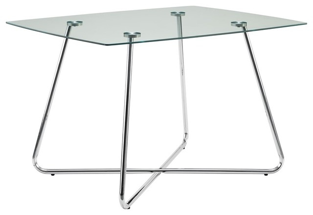 """Most Recent Dining Table With Chrome Base And Tempered Glass Top, 40""""x40"""" Within Chrome Dining Tables With Tempered Glass (#11 of 20)"""