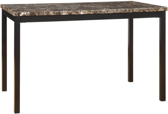 Most Recent Faux Marble Finish Metal Contemporary Dining Tables Inside Dining Table With Faux Marble Top Metal Rectangle Home Kitchen Modern  Furniture (#15 of 20)