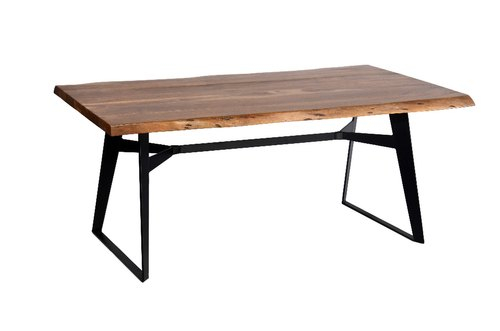 Most Recent Industrial Dining Table Iron Leg Inside Acacia Wood Top Dining Tables With Iron Legs On Raw Metal (View 7 of 20)