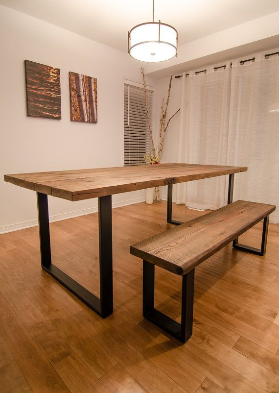 Most Recent Industrial Reclaimed Wood Dining Table And Bench Regarding Iron Wood Dining Tables With Metal Legs (View 7 of 20)