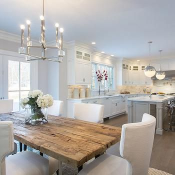 Most Recent Reclaimed Wood Top Dining Table, Transitional, Kitchen, Sir For Wood Top Dining Tables (View 11 of 20)