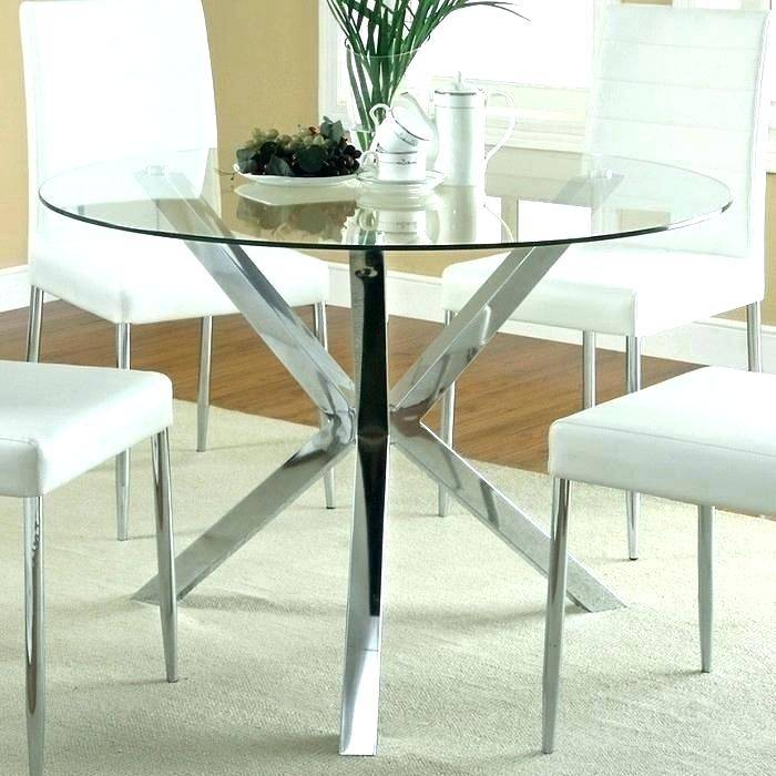 Most Recent Retro Round Glasstop Dining Tables Within Modern Round Glass Dining Table Top Set And Chairs Rooms (#7 of 20)