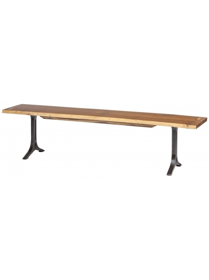 """Most Recent Samara Dining Bench In Smoked Oak Bronzed Gilt 71"""" Long With Regard To Dining Tables In Smoked/seared Oak (#13 of 20)"""