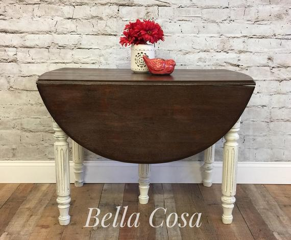 Most Recent Sold!!! Antique, Drop Leaf, Table, Kitchen Table, Dining Table, Oval, Wood,  Solid Walnut, Farmhouse, Country Chic (#9 of 20)