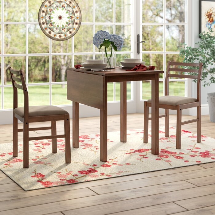 Most Recent Transitional 3 Piece Drop Leaf Casual Dining Tables Set Regarding Arquette 3 Piece Drop Leaf Dining Set (View 7 of 20)