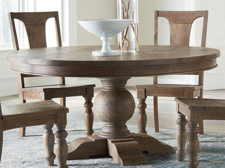 Most Recent World Interiors Chatham Downs Weathered Teak 60'' Wide Round Dining Table Inside Thick White Marble Slab Dining Tables With Weathered Grey Finish (View 16 of 20)