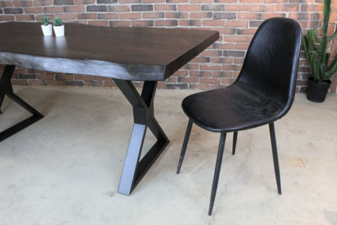 Most Recently Released Acacia Dining Tables With Black X Leg For Acacia Live Edge Dining Table With Black X Shaped Legs (View 4 of 20)