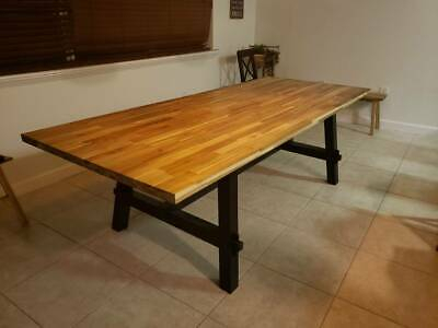 """Most Recently Released Acacia Wood Top Dining Tables With Iron Legs On Raw Metal Inside 84"""" Long Dining Table Solid Acacia Wood Top Iron Leg Base (#18 of 20)"""