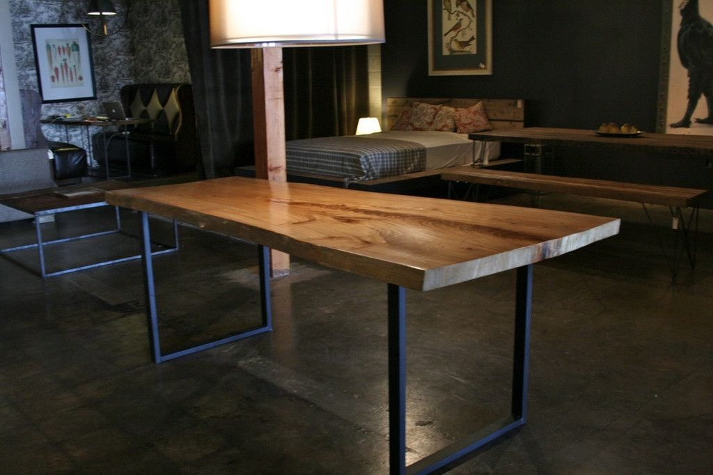 Popular Photo of Iron Wood Dining Tables With Metal Legs