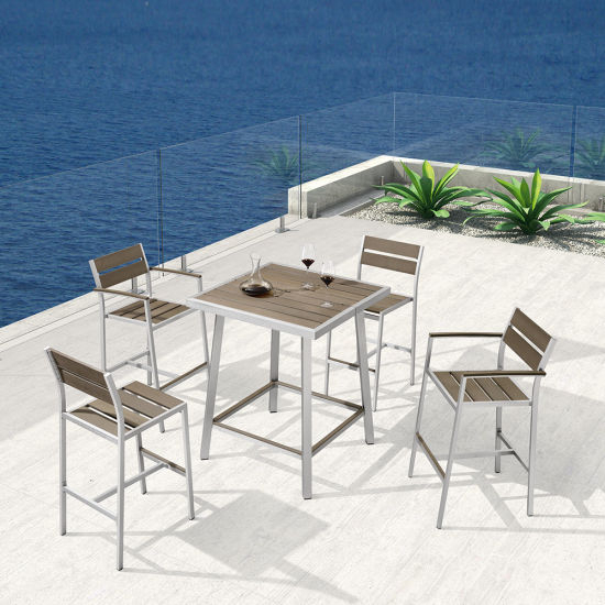 Most Recently Released Restaurant Patio Square Bar Set Garden Outdoor Bistro Furniture Set Regarding Patio Square Bar Dining Tables (View 9 of 20)