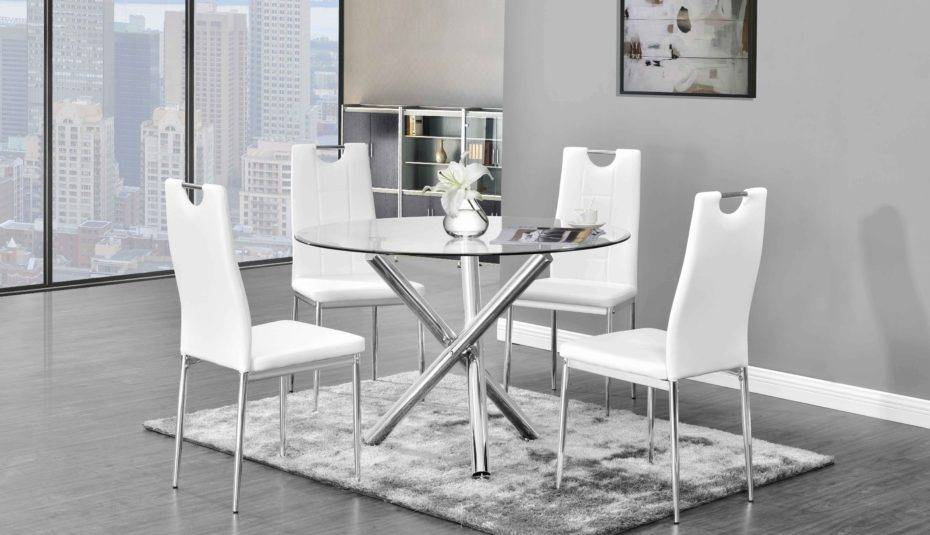 Most Recently Released Retro Round Glasstop Dining Tables Inside Wonderful Glass Top Dining Table Set For Round Chairs (#8 of 20)