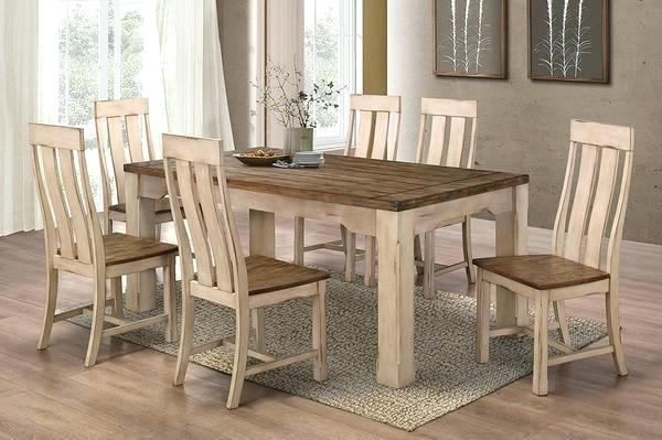 Most Recently Released Walnut And Antique White Finish Contemporary Country Dining Tables With Regard To White Country Dining Chairs – Slimproindia (#11 of 20)