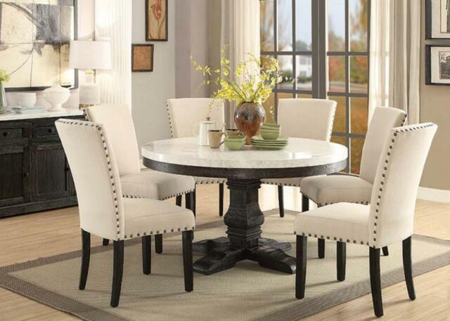 Most Up To Date 7Pc Lucia White Marble Top Weathered Black Wood Round Pedestal Dining Table  Set Throughout Dining Tables With White Marble Top (#14 of 20)