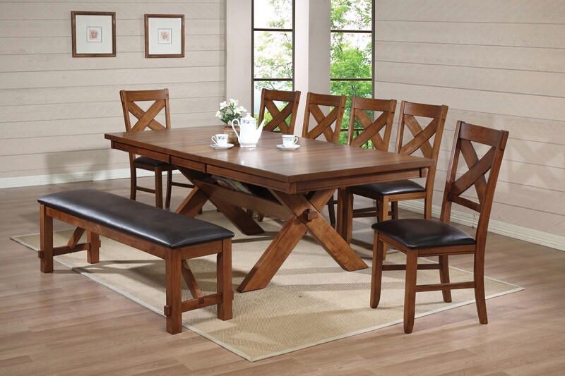 Most Up To Date Acme 70000 03 04 8 Pc Apollo Country Kitchen Style Distressed Walnut Finish  Wood Dining Table Set For Walnut And Antique White Finish Contemporary Country Dining Tables (#12 of 20)
