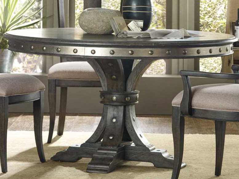 Most Up To Date Charcoal Transitional 6 Seating Rectangular Dining Tables Inside Hooker Furniture Vintage West Dramatic Dark Charcoal 54'' Wide Round Dining  Table (#14 of 20)
