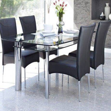 Most Up To Date Chrome Contemporary Square Casual Dining Tables With Regard To Contemporary Glass Dining Table Design Come With 2 Tier To (#12 of 20)