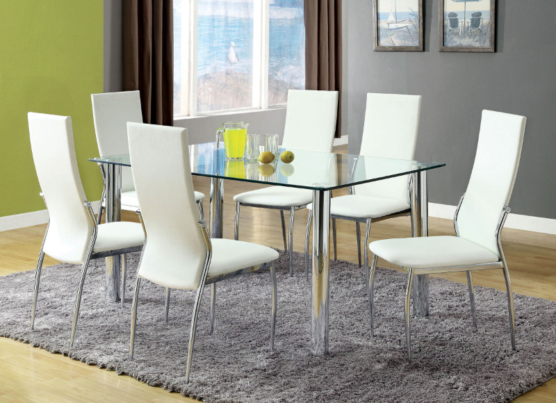 Most Up To Date Cm8319T 8310Wh 7Pc 7 Pc Kalawao I Chrome Legs Tempered Glass Table Top  Dining Table Set Pertaining To Chrome Dining Tables With Tempered Glass (#13 of 20)