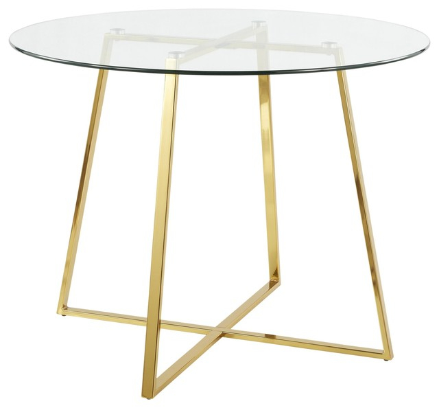 Most Up To Date Cosmo Contemporary/glam Dining Table, Gold Metal And Clear Tempered Glass Throughout Modern Gold Dining Tables With Clear Glass (#16 of 21)