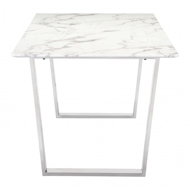 Most Up To Date Dining Tables With Brushed Gold Stainless Finish Intended For 100707 – Atlas Dining Table Stone & Brushed Stainless Steel (#15 of 20)