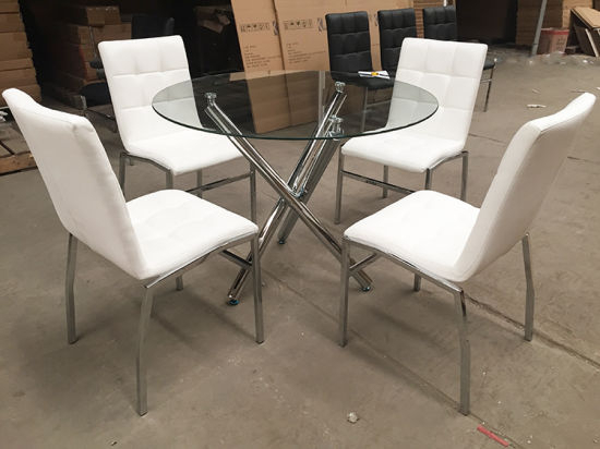 Most Up To Date Eames Style Dining Tables With Chromed Leg And Tempered Glass Top Within Replica Best Selling Glass Top Dining Table With Chromed Leg (#12 of 20)