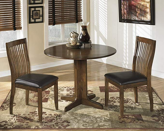 Most Up To Date Medium Elegant Dining Tables With Regard To Stanman Medium Brown Round Drop Leaf Table W/ 2 Chairs (#18 of 20)