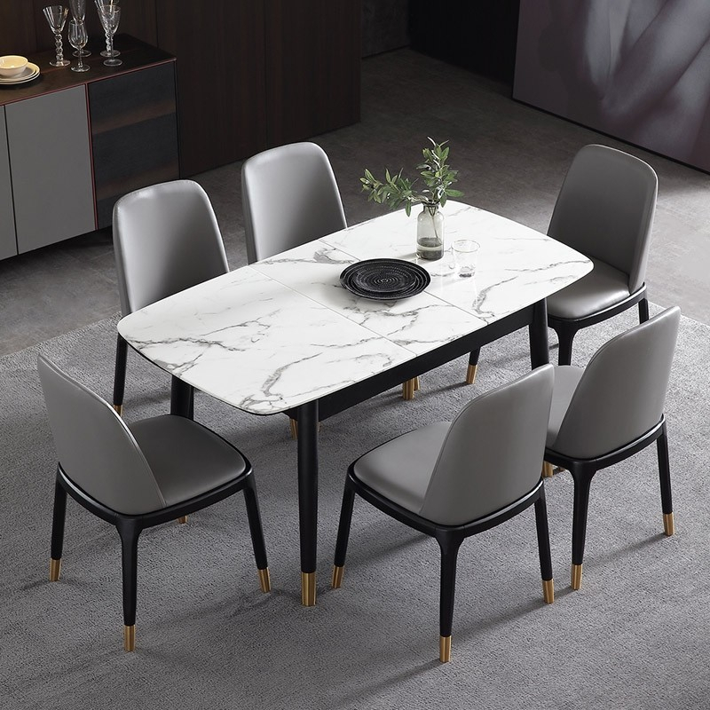 "Most Up To Date Modern Dining Tables Within Rectangular Extendable Faux Marble Dining Table With Marble Veneer Top  Modern Dining Table 55"" To 71"" Wood Legs (#13 of 20)"