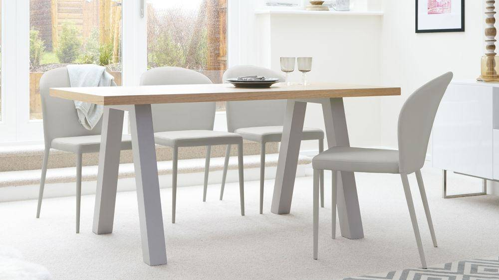Most Up To Date Modern Glass Top Extension Dining Tables In Matte Black Throughout Contemporary Oak And Matt Grey Dining Table Most Date Tables (#18 of 20)
