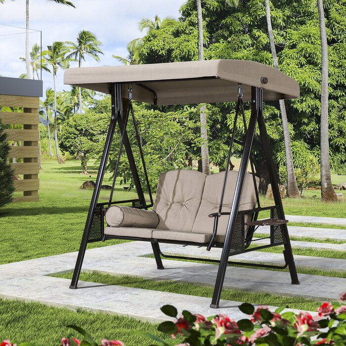 Musa 2 Seat Outdoor Porch Swing With Stand Inside 3 Person Red With Brown Powder Coated Frame Steel Outdoor Swings (View 17 of 20)