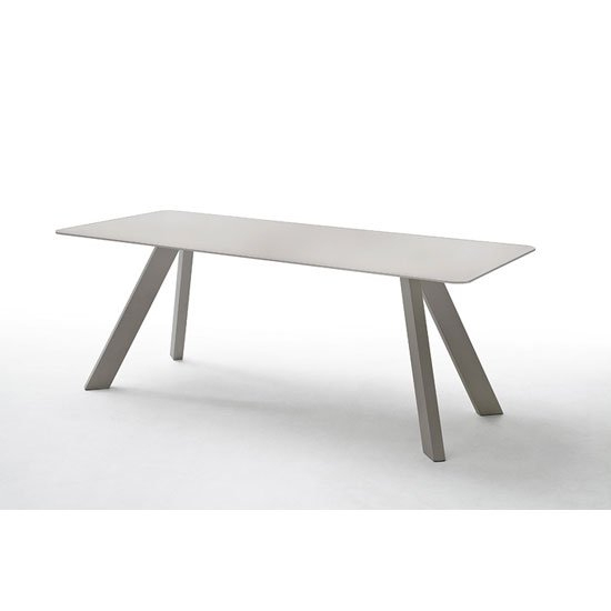 Nebi Glass Dining Table Wide In Taupe With Metal Legs In Most Popular Glass Dining Tables With Metal Legs (#15 of 20)