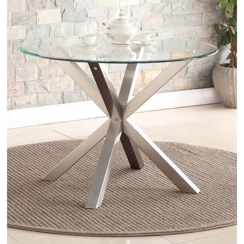 Nelson Dining Table Round Clear Glass Top Brushed Stainless Steel Legs Intended For Fashionable Dining Tables With Brushed Stainless Steel Frame (#16 of 20)