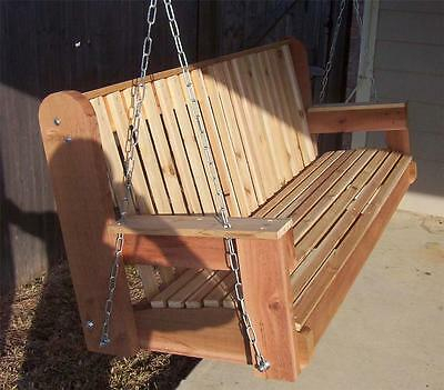 New 5 Foot Hand Made Cedar Porch Swing Large Seat Area Heavy Duty Chain, Springs | Ebay Throughout 5 Ft Cedar Swings With Springs (View 4 of 20)